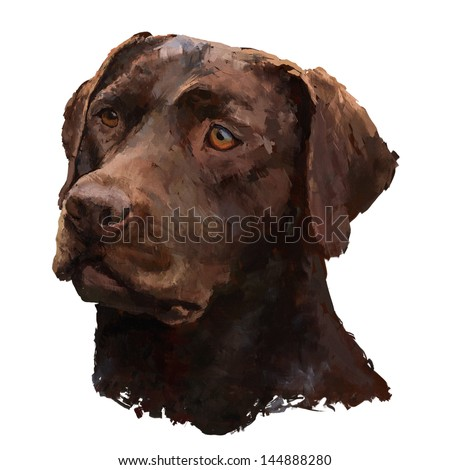 labrador/ oil painting on canvas, painted pen tablet - stock photo