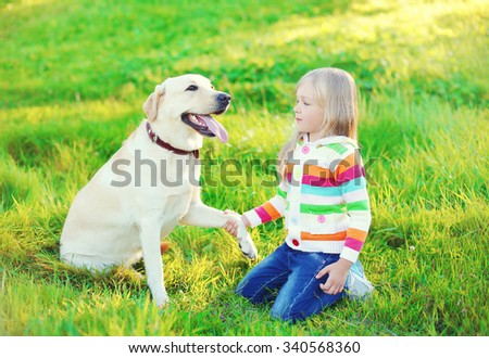 Labrador retriever dog gives paw child on grass in summer day
