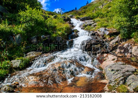 Labsky waterfall is the one of famous waterfall in Czech republic - stock photo