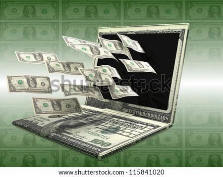 Labtop Money - stock photo