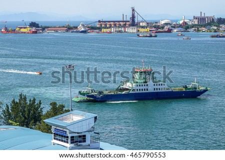 Labuan,Malaysia-Aug 4,2016:Kimanis 1 vehicle & passenger ferry on sailing from Labuan Island to Menumbok,Sabah.Long proposed bridge between the Sabah mainland & Labuan island still pending for outcome