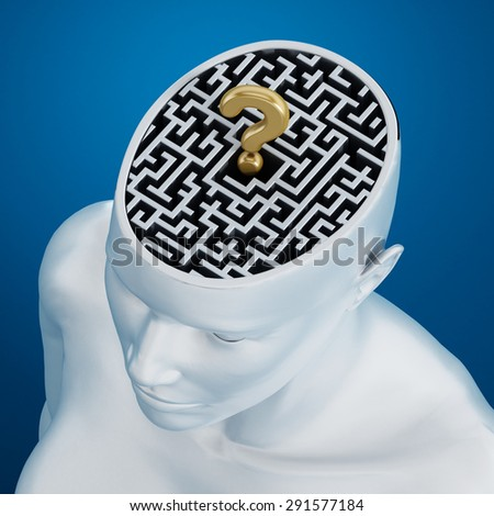 Labyrinth and a golden question mark inside human head against blue background