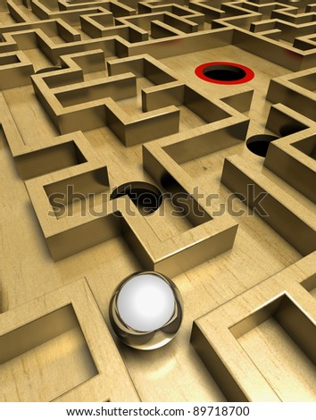 Labyrinth and ball Wooden labyrinth with a silver ball - stock photo