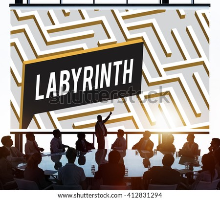 Labyrinth Challenge Complexity Business Decision Concept - stock photo