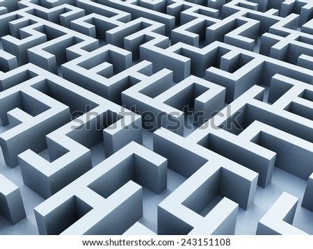 Labyrinth from vanishing perspective . - stock photo