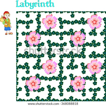 Labyrinth game. Travelling of little boy in floral maze. Educational game for children.  - stock photo