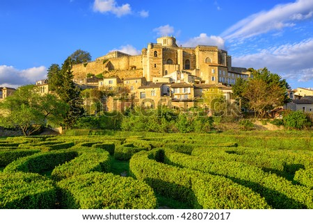 Labyrinth garden beneath the hilltop town and castle Grignan, Drome, France