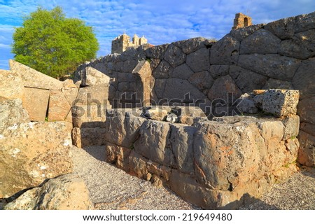 Labyrinth guarding the entrance to an antique temple, Greece - stock photo
