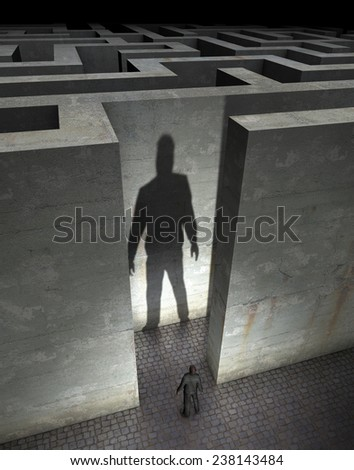 Labyrinth in front, entrance to an dark mystic labyrinth - stock photo