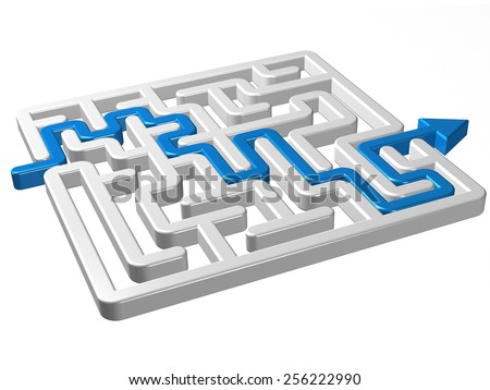 labyrinth maze 3d blue round - stock photo