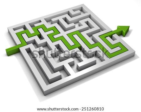 labyrinth maze 3d green - stock photo