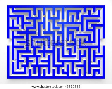 Labyrinth Maze. 3D Top view.