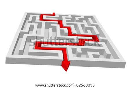 Labyrinth - maze puzzle for solution or search concept. Vector version also available in gallery - stock photo