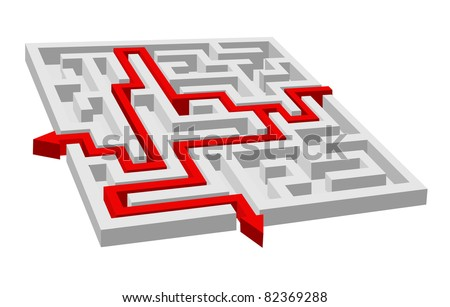 Labyrinth - maze puzzle for solution or success concept. Vector version also available in gallery - stock photo