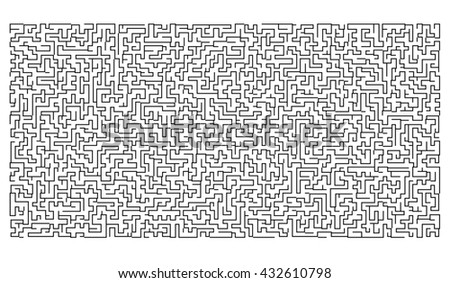 Labyrinth of high complexity Isolated on white background. - stock photo