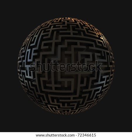 labyrinth planet - endless maze with spherical shape 3d illustration