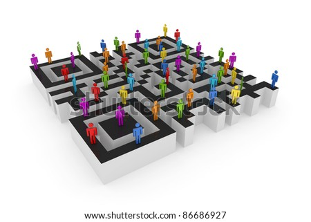 Labyrinth shape of QR code and colorful 3d small people upstairs.Isolated on white background. - stock photo
