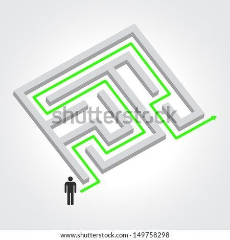 Labyrinth with arrow and people. Raster version illustration - stock photo