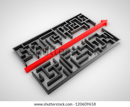 labyrinth with arrow on white background - stock photo