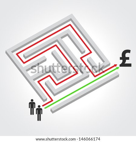 Labyrinth with arrow, people and pound symbol. Raster version. Vector version available in my portfolio. - stock photo