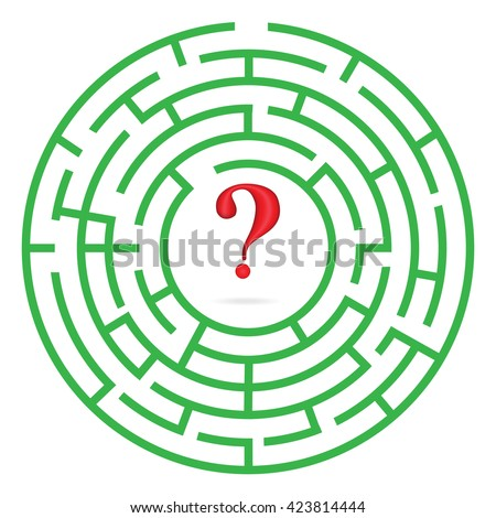 Labyrinth with interrogation mark illustration raster version - stock photo