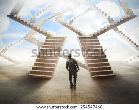 Labyrinthic staircases  - stock photo