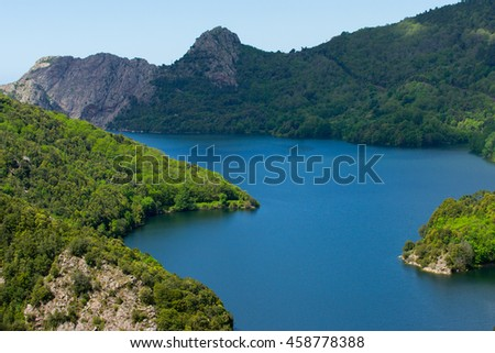 Lac de Tolla (Corsica, France) on a bright day in summer.