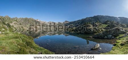 Lac Romedo in the Spanish Pyrenees. - stock photo