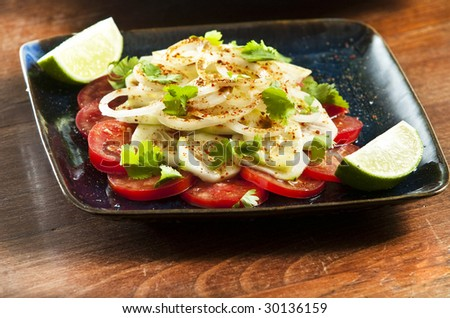 Laccha salad with onion tomato and cucumber