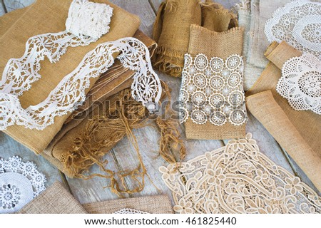 Lace and linen home decoration elements, top view