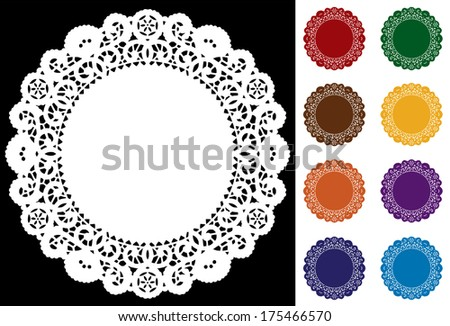 Lace Doily Place Mats, antique vintage design pattern in 8 jewel colors, white on black background, copy space, for setting table, cake decorating, holiday, craft, scrapbooks, albums.  - stock photo