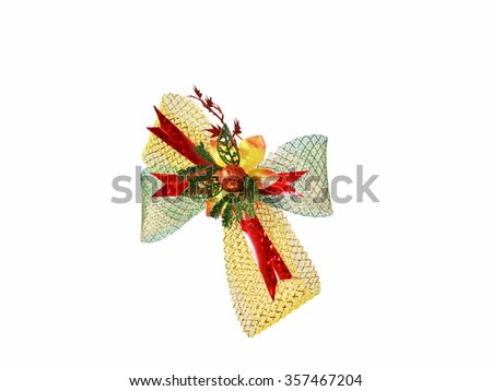 Lace fabric with bow on a white background