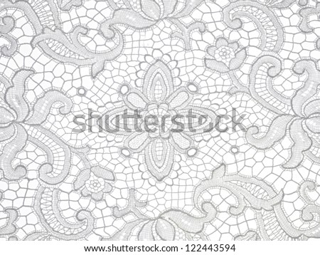 lace floral Pattern on white background - stock photo