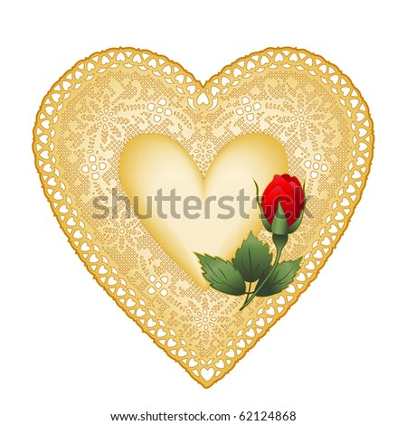Lace Heart Doily, Vintage Gold, red rose bud, antique design with copy space for Valentine's Day, anniversaries, birthdays, Christmas, weddings, isolated on white.  - stock photo