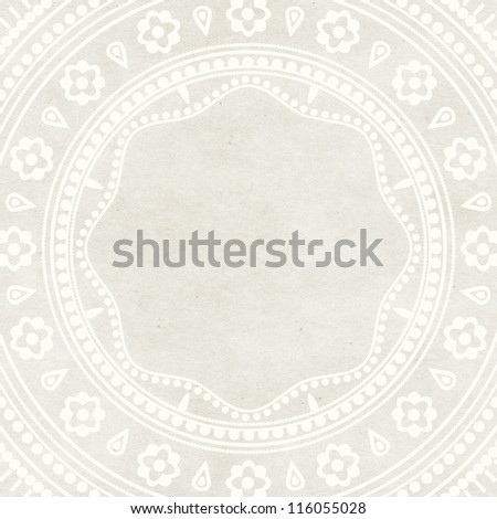 Lace ornament design on paper texture. Wedding invitation card template