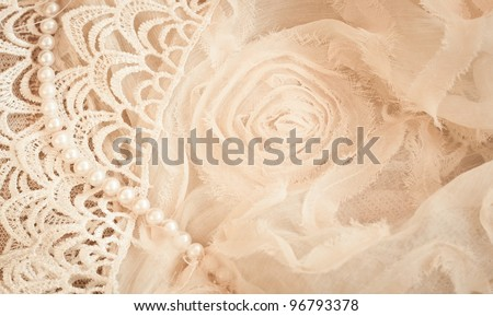 Lace, pearls and chiffon vintage background - stock photo