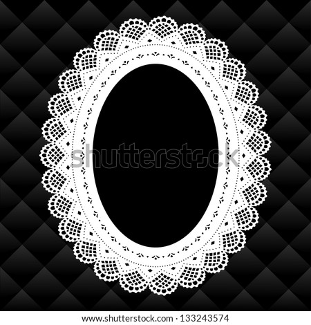Lace Picture Frame, Vintage oval doily with black diamond quilted background.  Copy space for pictures for albums, scrapbooks, holidays.  - stock photo
