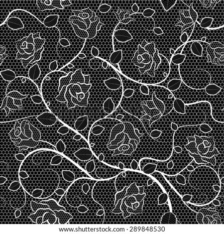 Lace seamless pattern with roses on black background. Raster version illustration - stock photo