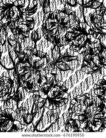 lace wallpaper pattern black and white pen drawing swirls animal skin floral pansies