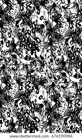 lace wallpaper pattern black and white swirls animal skin floral drawing