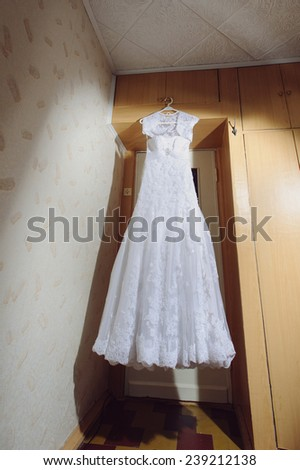 lace wedding dress at bride's room