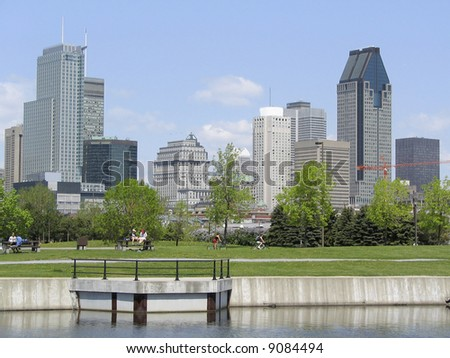 Lachine Canal and Montreal skyline