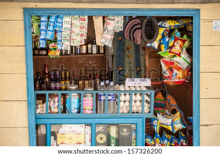 LACHUNG,SIKKIM,INDIA-APRIL 10:Grocery store IN  Lachung village, North Sikkim on April 10,2013 in Lachung ,Sikkim,India. - stock photo