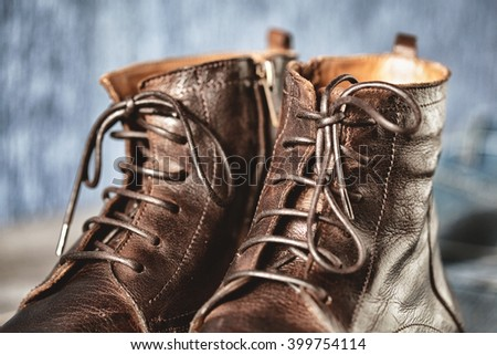 lacing high leather boots closeup