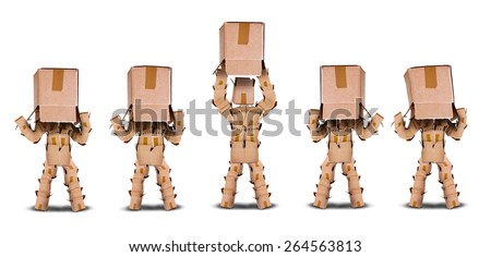 Lack of business vision concept with four boxmen characters hiding under a box and one lifting the box to see the light