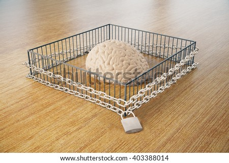 Lack of free thinking concept with brain locked in cage with chains on wooden surface. 3D Rendering - stock photo
