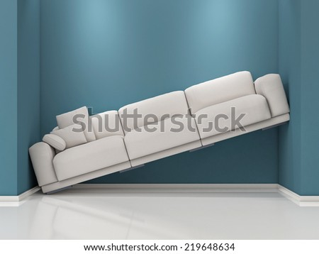 Lack of Space. Sofa Between blue walls  - stock photo