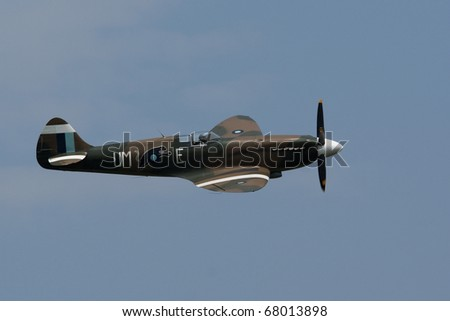 LACOMINA, ITALY - JUNE 26: The Supermarine Spitfire fighter aircraft in the LaComina airshow on June 26, 2010 in LaComina, Italy