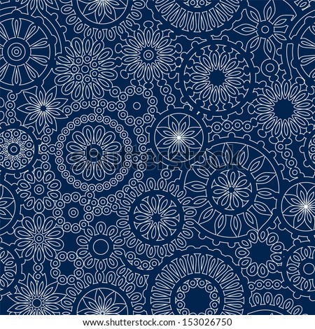 Lacy circles delicate seamless pattern in blue and white. Raster version, editable vector file also available at my port.