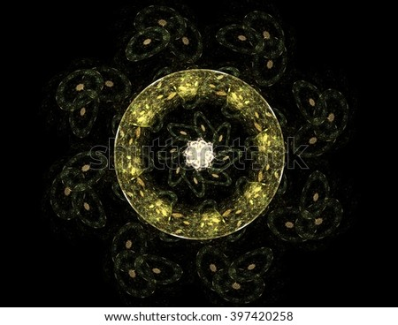 Lacy colorful clockwork pattern. Digital fractal art design. Abstract design of sacred symbols signs geometry. Designs of astrology alchemy magic. Geometric Spiral. Abstract Colorful Fractal Texture. - stock photo